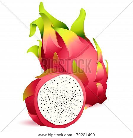 Icon Of Ripe Exotic Dragonfruit With Slice