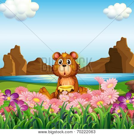 Illustration of a cute bear near the flowers at the riverbank