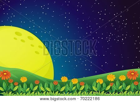 Illustration of the bright moon and the sparkling sky