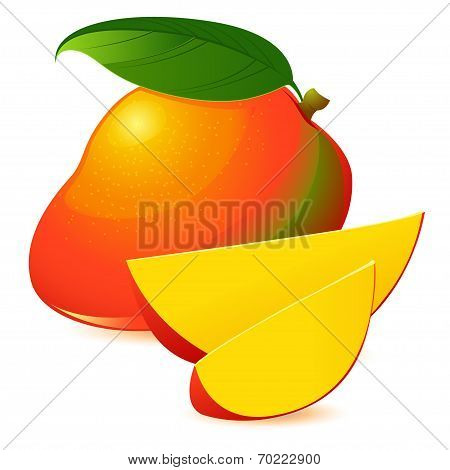 Icon of Ripe exotic mango with two slices