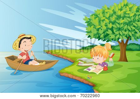 Illustration of a boat with a boy and a girl studying at the riverbank
