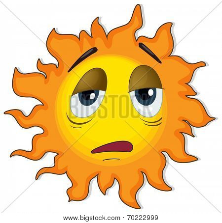 Illustration of a tired sun on a white background