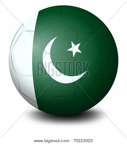 Illustration of a soccer ball with the flag of Pakistan on a white background