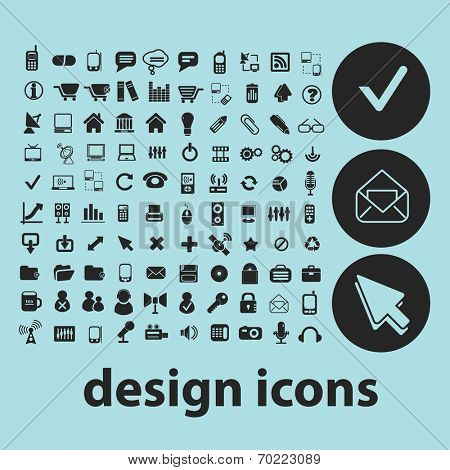 design, website, infographics black icons, signs, silhouettes, illustrations set. vector