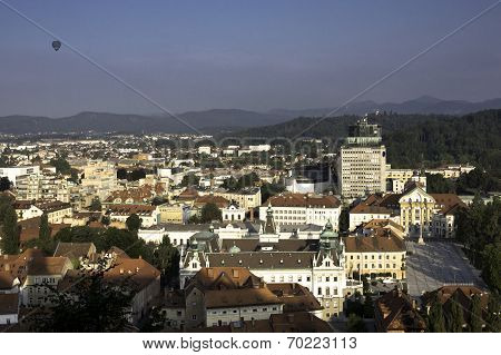 View of Ljubljana and Congress square from above