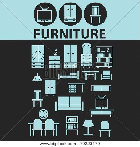 furniture, interior design, room decoration black icons, signs, silhouettes, illustrations set. vector