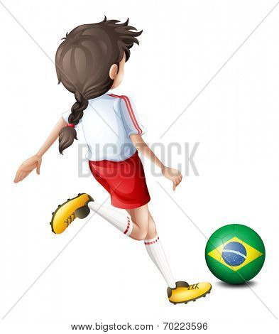 Illustration of a girl using the soccer ball with the flag of Brazil on a white background