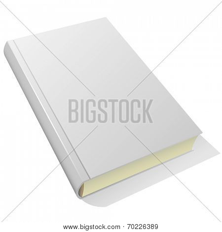 Lying blank hardcover book isolated on white background.