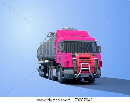 Truck driven by fuel on a blue background.