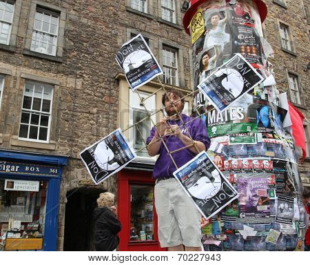 EDINBURGH- AUGUST 16: Member of BEDS publicize their show Don Quixote during  Edinburgh Fringe Festival on August 16, 2014 in Edinburgh Scotland