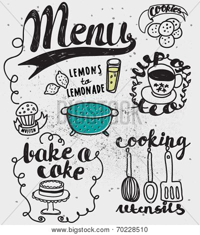 Doodles Themed Around Food and Drink - Hand drawn vignettes related to food and drink, including teacup, cookies, cake, muffin and lemonade, in a sketchy simple style