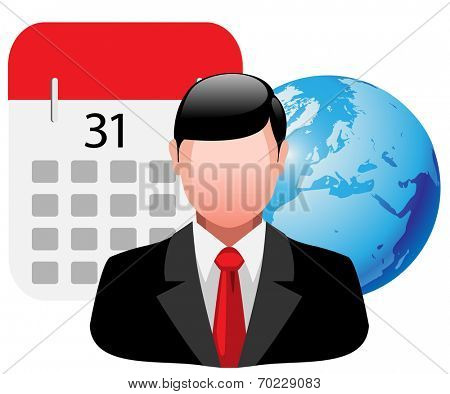 Icon business man with planet Earth and calendar. illustration, vector.