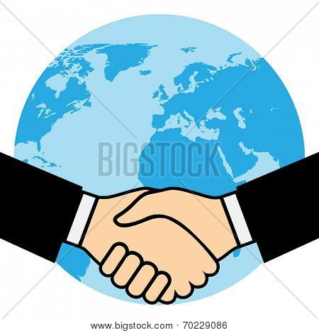 Handshake of business partners, against the background of the Earth. Illustration, vector