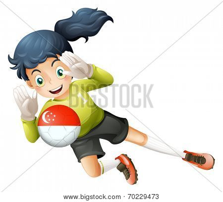 Illustration of a young lady using the ball with the flag of Turkey on a white background