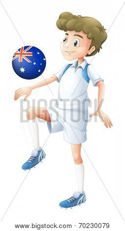 Illustration of a soccer player playing with the ball from Australia on a white background