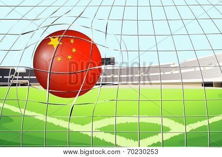 Illustration of a soccer ball at the field with the flag of China