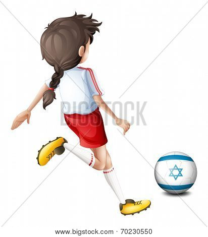 Illustration of a girl playing with the flag of Israel on a white background