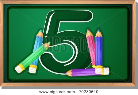 Illustration of a blackboard with five pencils