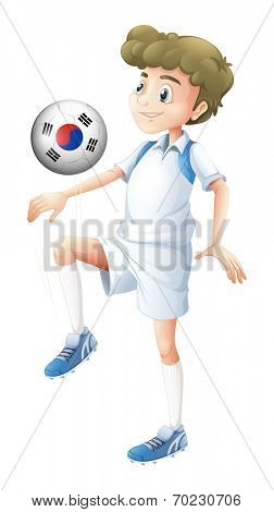 Illustration of a man using the ball with the flag of South Korea on a white background
