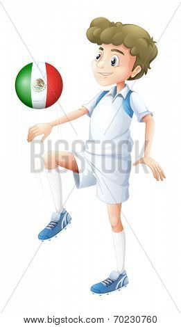 Illustration of a soccer player using the ball with the flag of Mexico on a white background