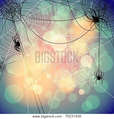 Festive background with spiders and web. Place for text. Raster version.