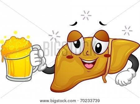 Mascot Illustration Featuring a Drunk Liver