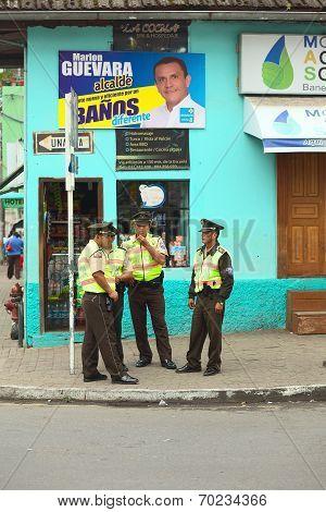 Policemen in Banos, Ecuador