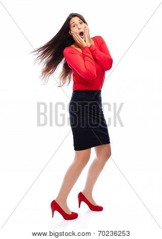 Shocked Business Woman In Red