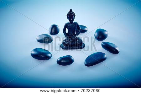Buddah In A Circle Of Zen Stones