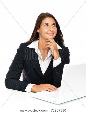 Thinking Laptop Woman