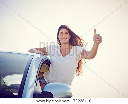 Happy Young Car Woman