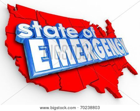 State of Emergency 3d words on United States of America map to illustrate a national crisis or disaster for the country