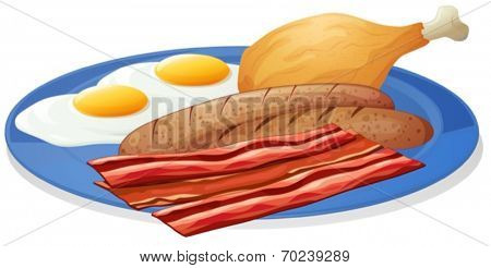 Illustration of a plate of eggs and bacon