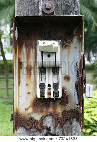 Broken Vintage Retro Large Electric Circuit Breaker