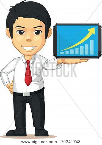 Man with Increasing Graph or Chart on Tablet