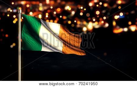 Ireland National Flag City Light Night Bokeh Background 3D