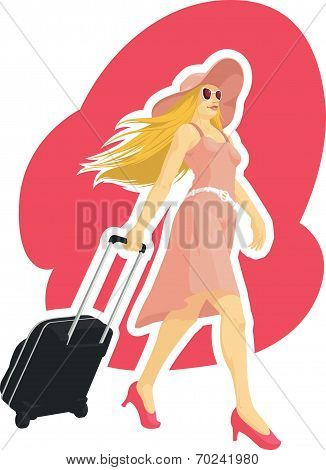 Woman Tourist Travelling with Suitcase