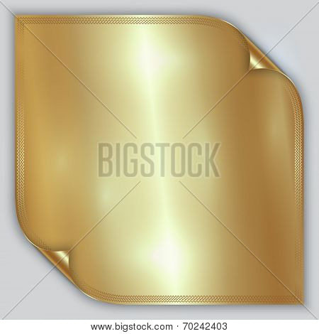 Vector abstract golden metallic rolled foil sheet with border