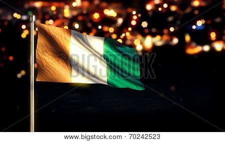 Cote D'Ivoire National Flag City Light Night Bokeh Background 3D