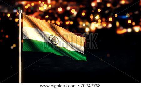 India National Flag City Light Night Bokeh Background 3D