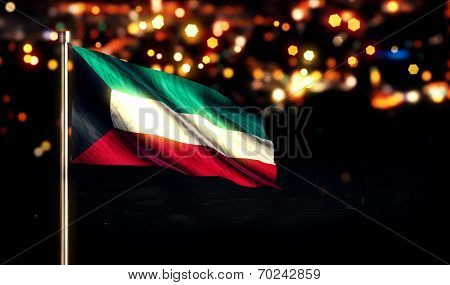 Kuwait National Flag City Light Night Bokeh Background 3D
