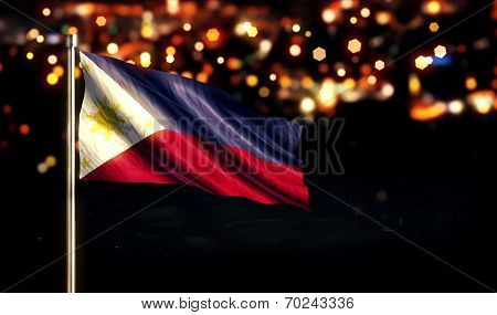 Philippines National Flag City Light Night Bokeh Background 3D