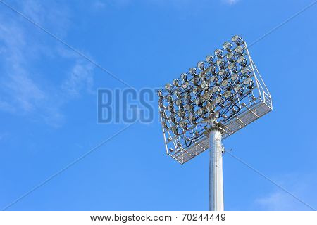 The Stadium Spot-light Tower With Blue Sky