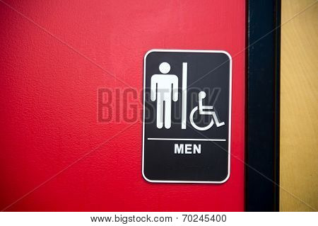 restroom (toilet) sign on wall  surface, healthy environment