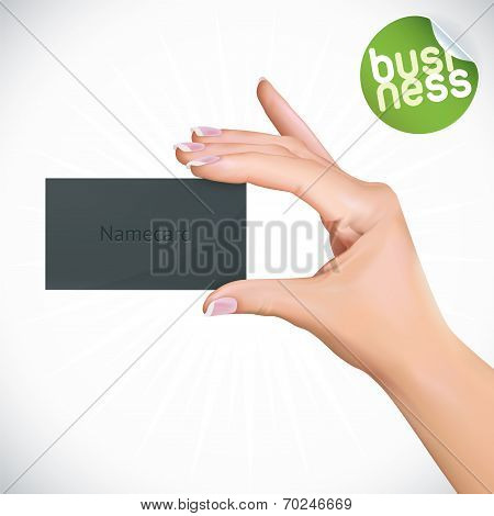 Hand Holding Name Card
