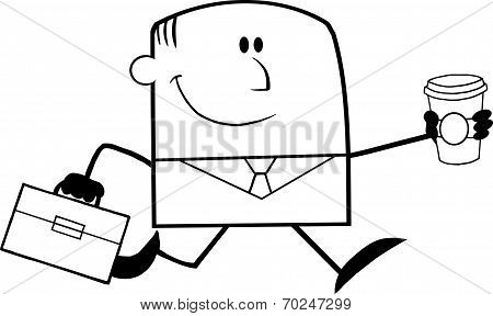Black And White Lucky Businessman Running To Work With Briefcase And Coffee