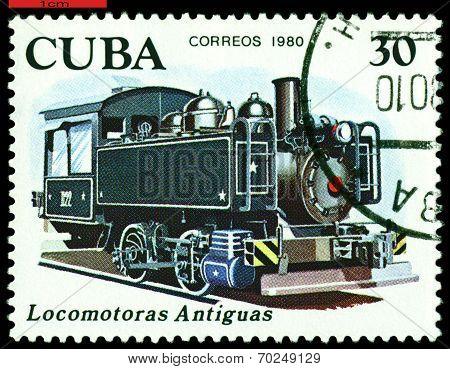 Vintage  Postage Stamp.  Antique Oil Combustion Engine 1909.