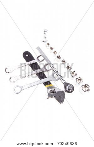 set of tools: ratche handle with bush's adjustable wrench and spanners