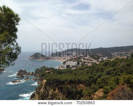 Panoramic view of Tossa de Mar, in the costa brava, Spain