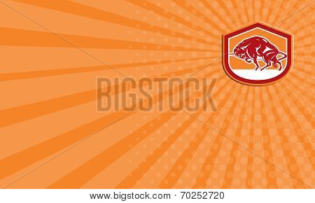 Business Card European Bison Charging Shield Retro